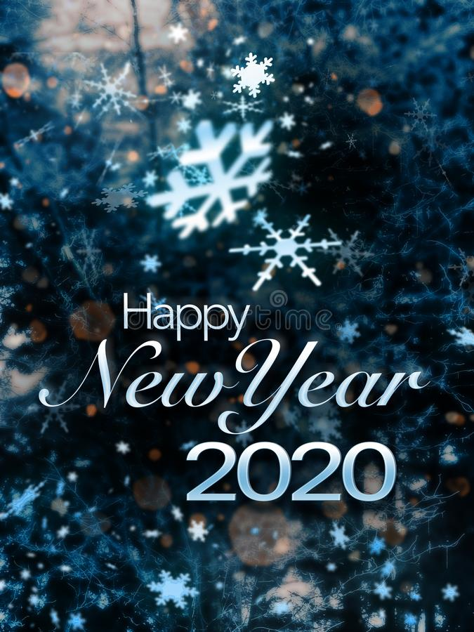 Happy New Year 2020. Card for 2020 with text 'Happy New Year 2020' in white script on a dramatic background of snow flake crystals on black royalty free stock images