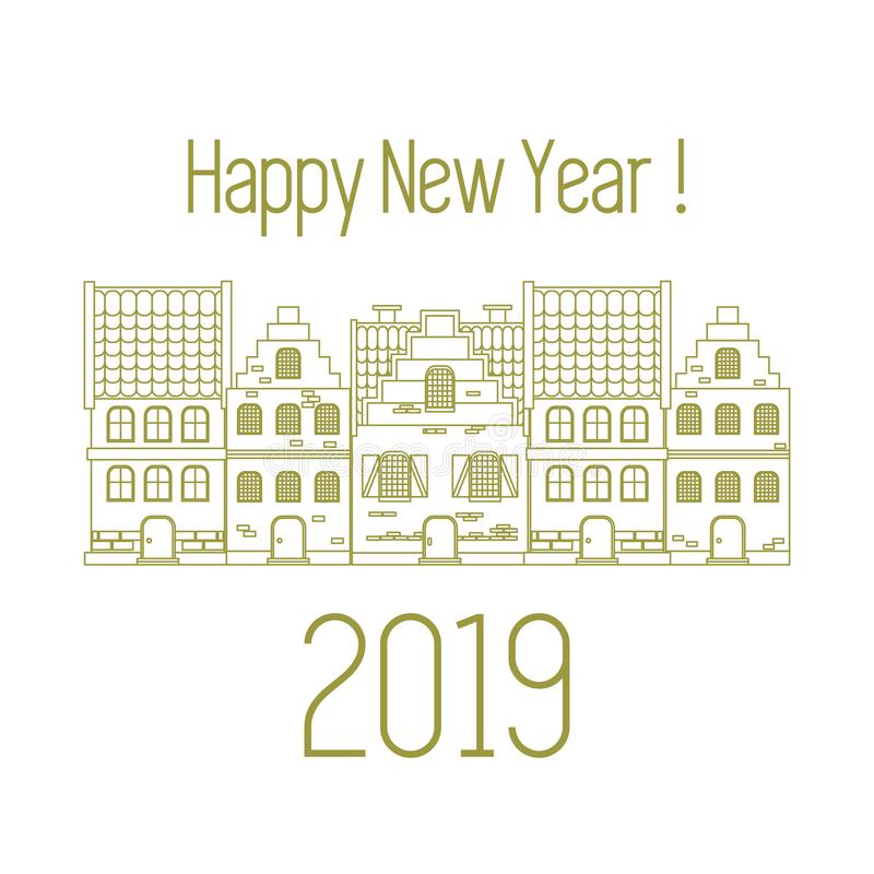 Happy New Year 2019 card. Vector houses vector illustration