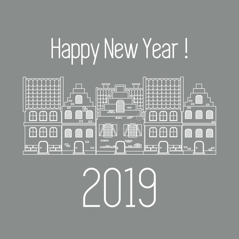 Happy New Year 2019 card. Vector houses. royalty free illustration