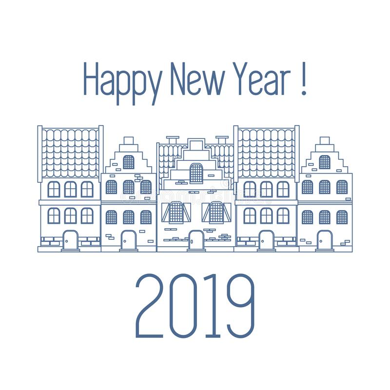 Happy New Year 2019 card. Vector houses. stock illustration