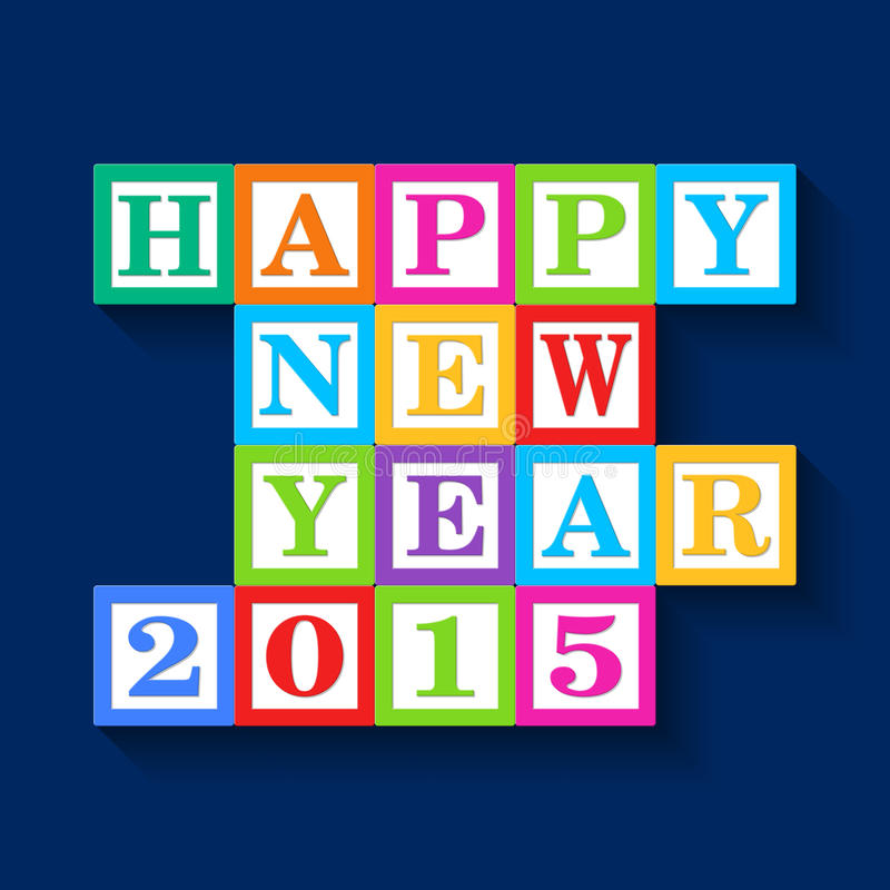 Happy New Year 2015 card, wooden blocks vector illustration