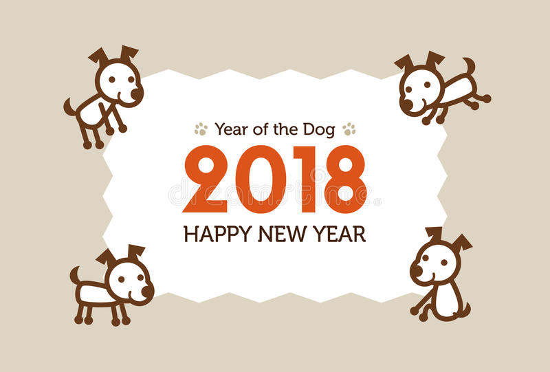 Happy New Year Card 2018, year of the dog vector illustration