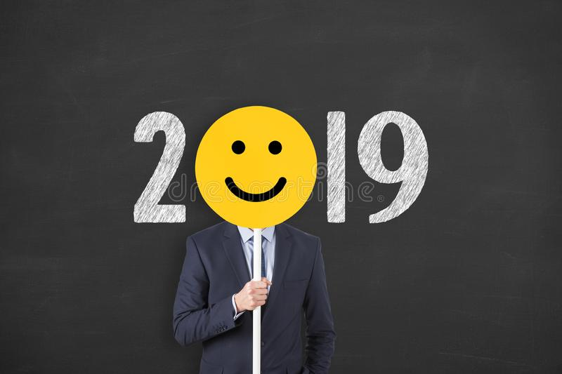 Happy New Year 2019 on Cardboard stock photo