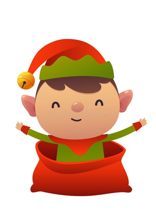 Happy new year cartoon card christmas elf in Santa Claus bag vector illustration