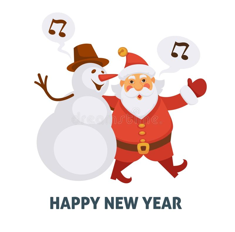 Download Happy New Year Cartoon Santa And Snowman Singing Christmas Song  Vector Greeting Card Icon Stock