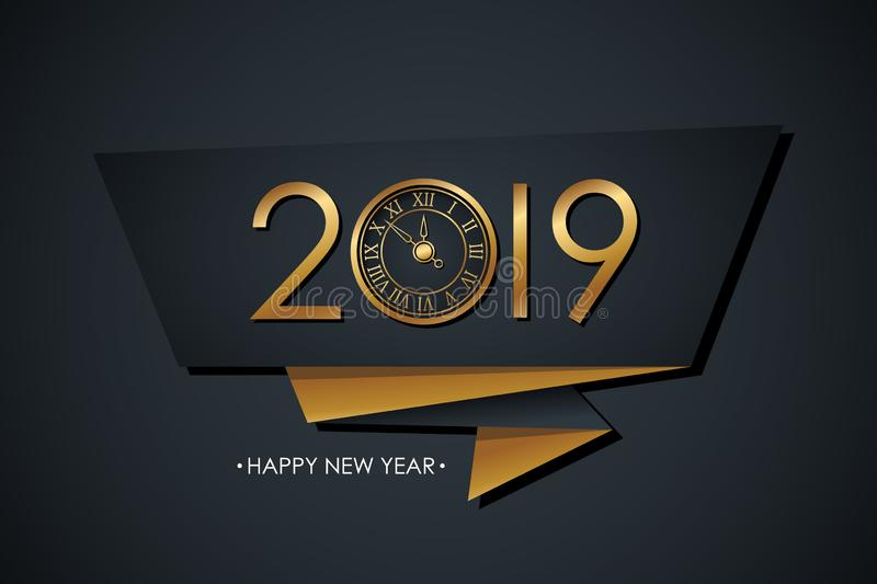 2019 Happy New Year celebrate banner with gold colored 2019 text design, new year clock and black background. vector illustration