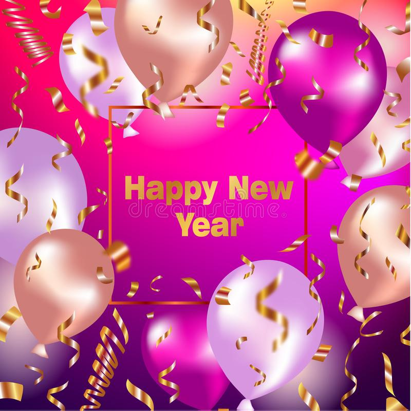 Happy New Year celebration background with gold balloons and confetti stock illustration