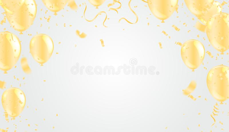 Happy New Year 2020 Celebration background party balloons golden . Vector illustration stock illustration