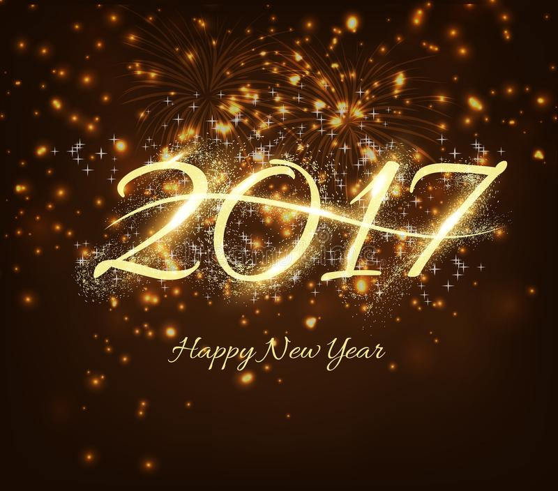 Happy New Year 2017 celebration background with shiny text, fireworks in night background.  royalty free illustration