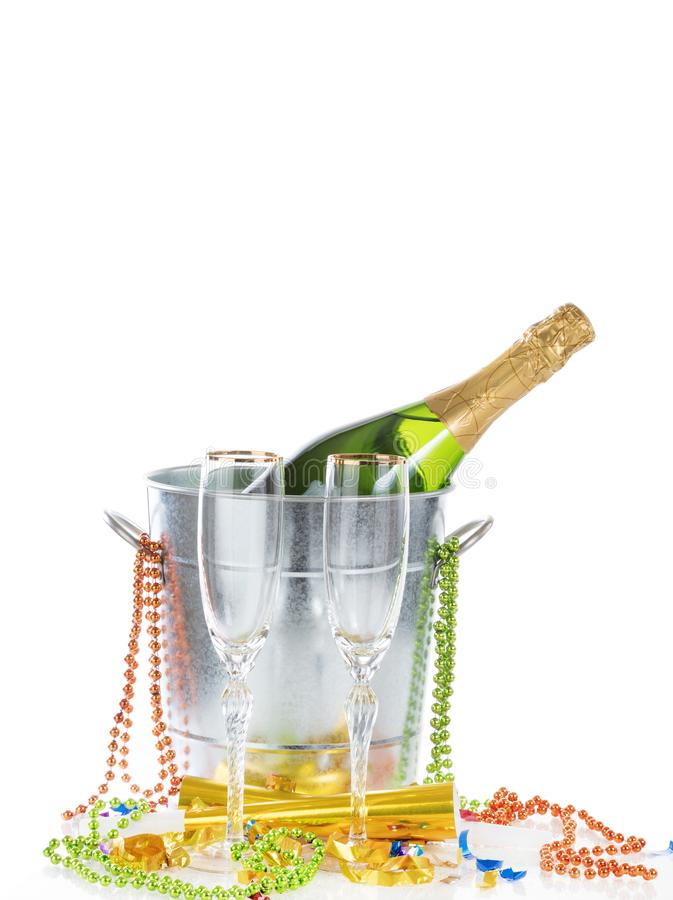 Happy New Year Celebration with Champagne in bucket for two isolated on white background stock image