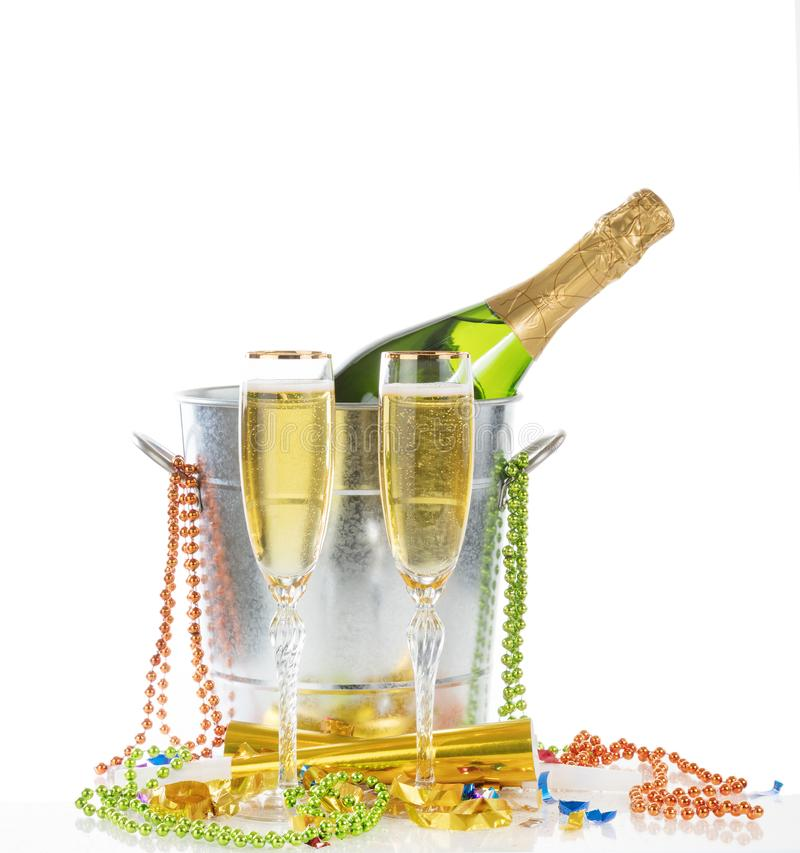 Happy New Year Celebration with Champagne for two isolated on white background royalty free stock photography