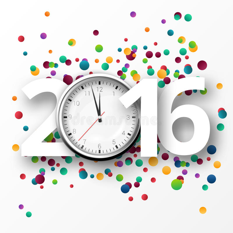 Happy New Year 2016 Celebration With Confetti. Stock Illustration ...