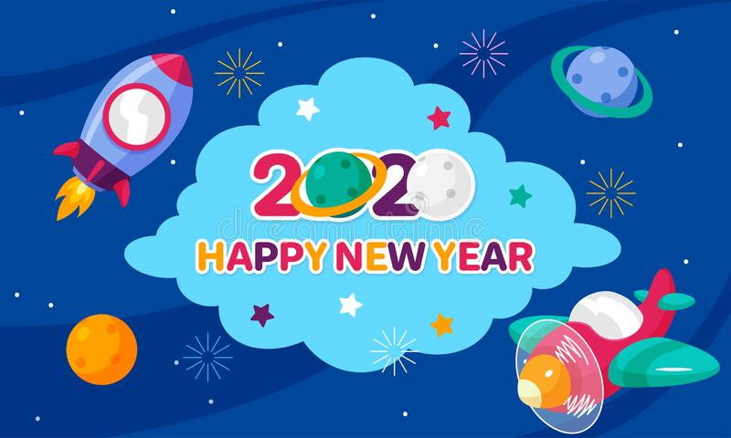 Happy New Year 2020 celebration poster use cartoon space for kids concept with rocket, plane, planet and fireworks vector. Illustration at night sky background stock illustration