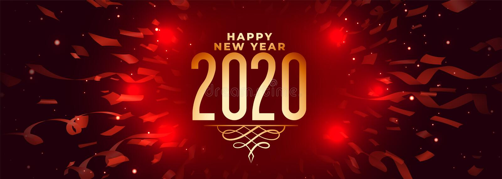 2020 happy new year celebration red banner with confetti stock illustration