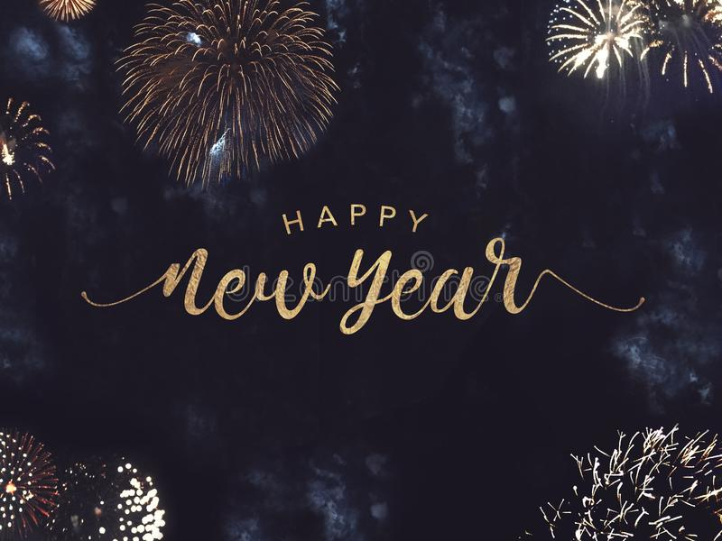 Happy New Year Text with Gold Fireworks in Night Sky royalty free illustration