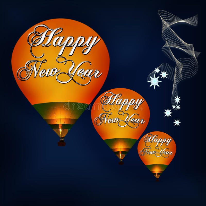 Happy New Year 2020. And Merry Christmas celebration - concept. Hot air balloons on the night sky royalty free stock photo