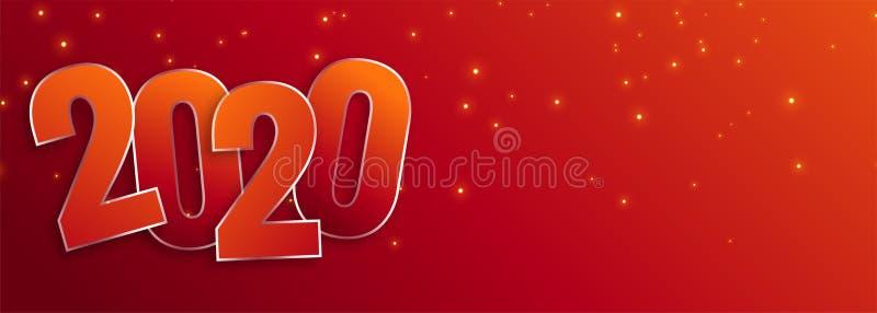 Happy new year 2020 celebration wide banner design vector illustration