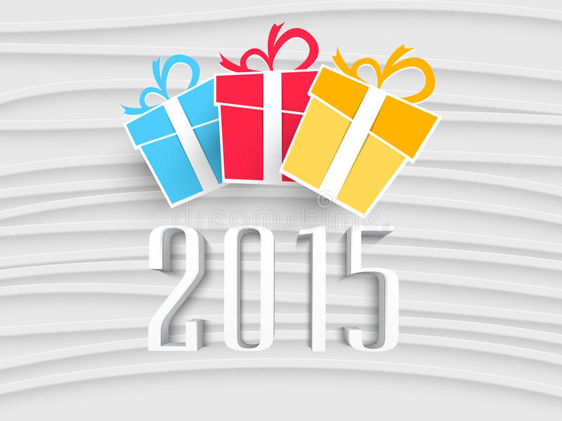 Happy New Year celebrations concept. Happy New Year celebrations with 3D text 2015 and colorful gift boxes on stylish background vector illustration