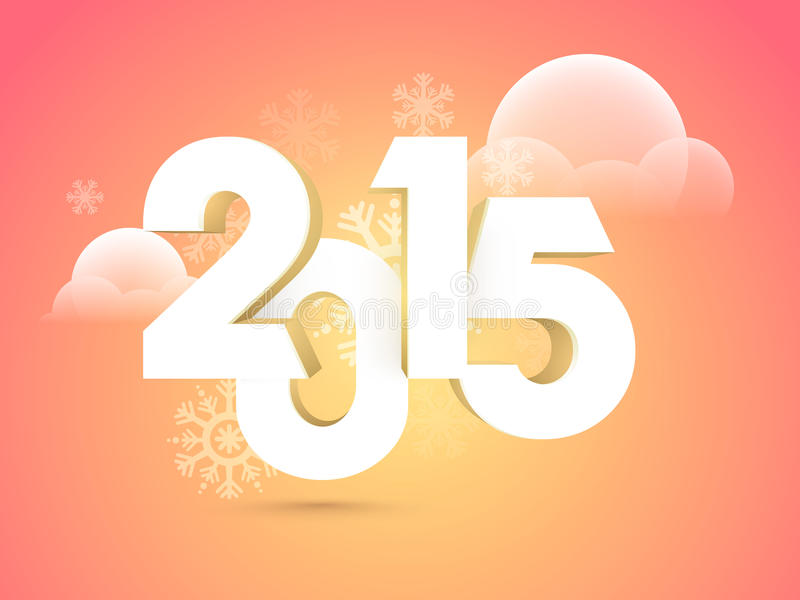 Happy New Year celebrations concept. Happy New Year celebrations with 3D text 2015 on snowflakes or clouds decorated background royalty free illustration