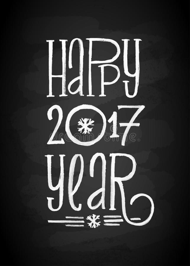 Happy New Year Chalk Board Lettering. Letters stylized for the drawing with chalk on the blackboard. Vector illustration. Modern Background With Typography On royalty free illustration