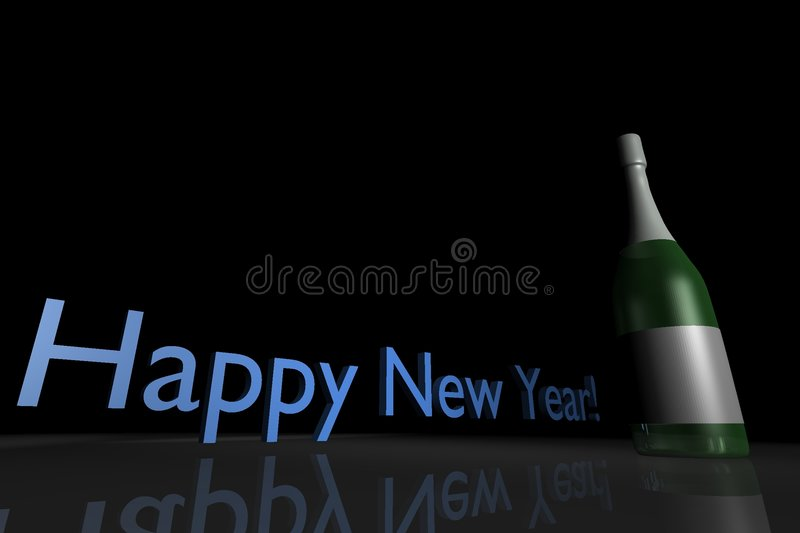 Happy new year - champagne royalty free illustration