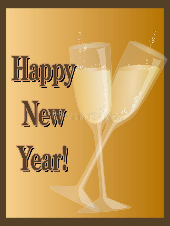 Happy New Year Champagne Stock Photos