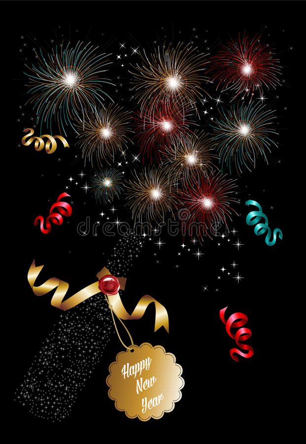 Happy new year 2014 champagne fireworks background stock illustration