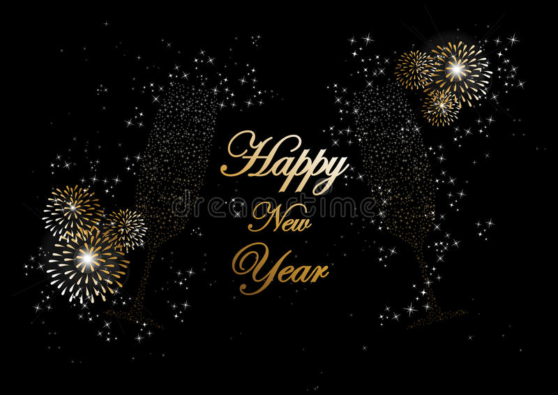 Happy new year 2014 champagne fireworks greeting card. Happy new year 2014 holidays champagne flute glass with fireworks sparkles greeting card background. EPS10 royalty free illustration