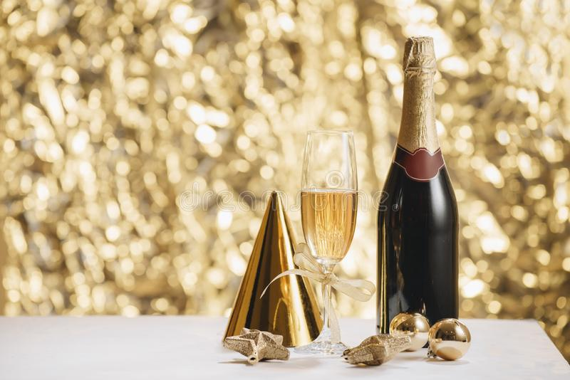 Happy new year - champagne and serpentine royalty free stock images