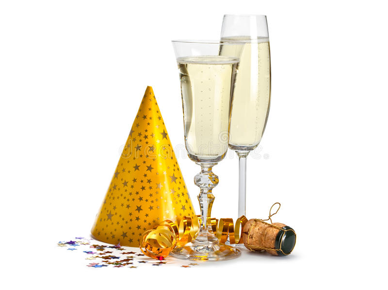 Happy new year - champagne and serpentine royalty free stock photos