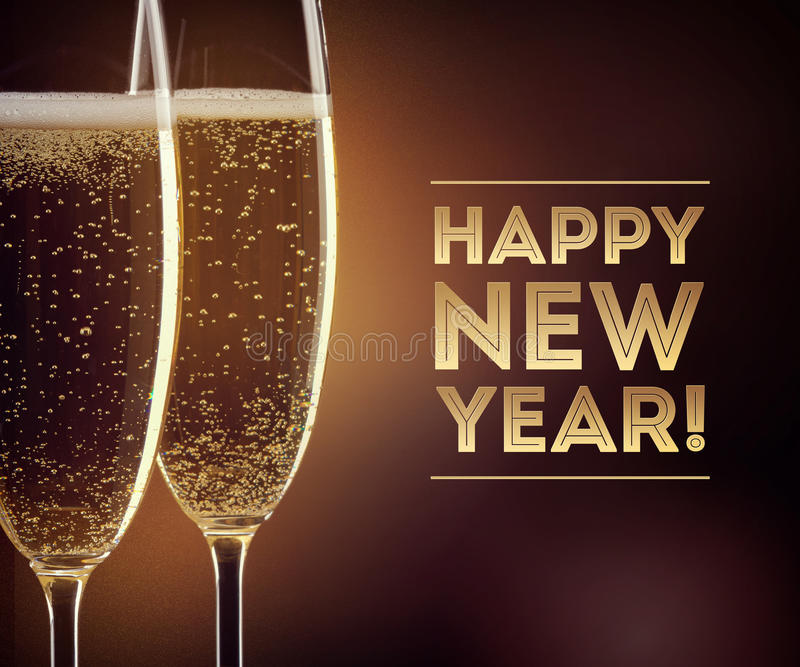 Happy New year champagne. Two glasses of champagne with happy New year text on black background stock images