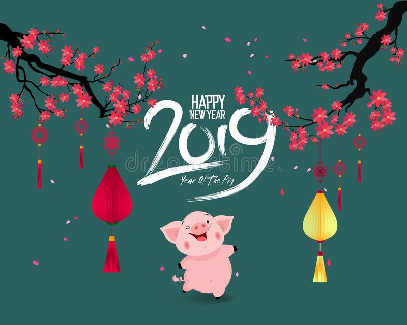 Happy New Year 2019. Chienese New Year, Year of the Pig. Cherry blossom background vector illustration