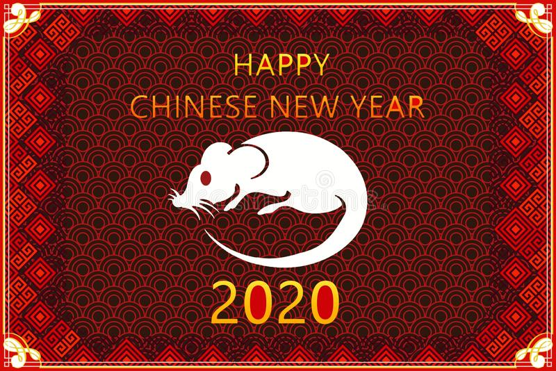 Happy new year 2020,Chinese new year greeting ,year of the rat,  fortune. royalty free illustration