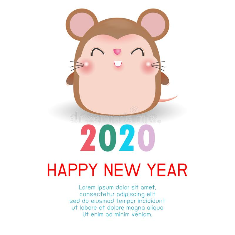 Happy New Year 2020. Chinese New Year. The year of the rat. Happy New Year greeting card with cute rat, background illustration royalty free stock images