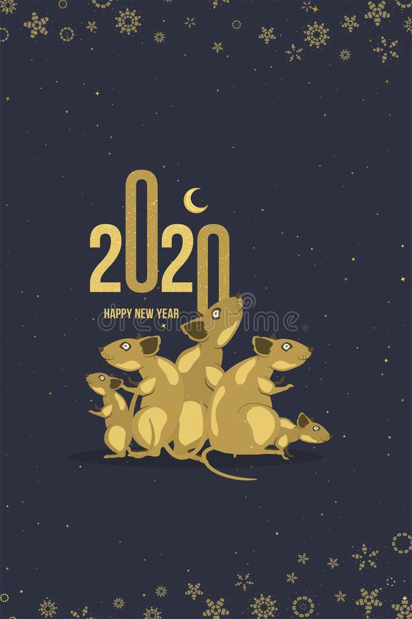 Happy new year. 2020 Chinese year of the Rat. Greeting card with family of rats and golden moon on a dark background. Flat vector stock illustration