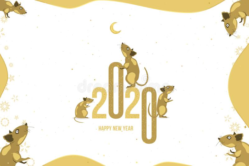 Happy new year. 2020 Chinese year of the Rat. Greeting card with family of rats and golden moon on a light background. Flat vector stock illustration