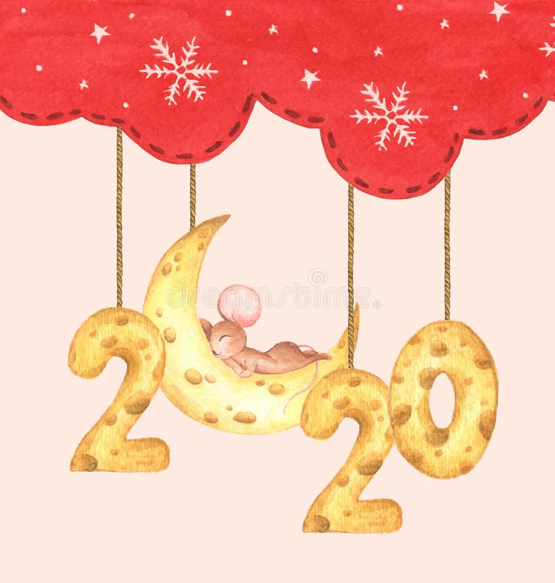 Happy New Year. Chinese zodiac symbol of 2020. Watercolor holiday card royalty free illustration