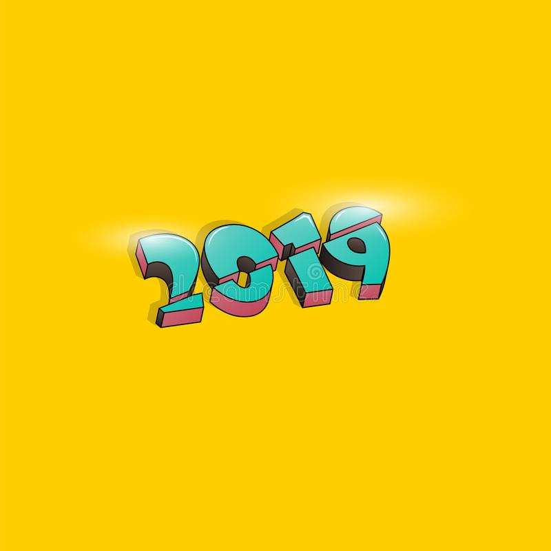 2019 Happy New Year or Christmas background creative design for your greetings card, flyers, invitation, posters, brochure, banner vector illustration