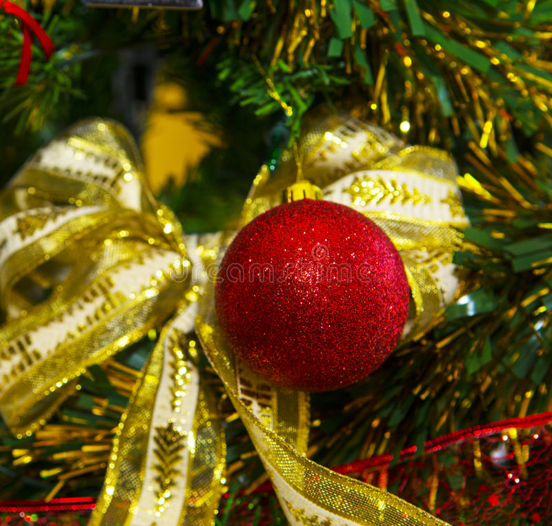 Happy New Year. Christmas ball on the Christmas tree royalty free stock images