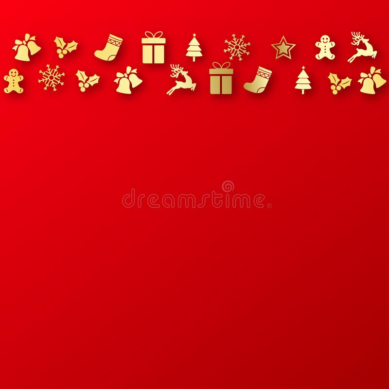 Happy New Year or Christmas card with Xmas ornaments. Vector.  stock illustration