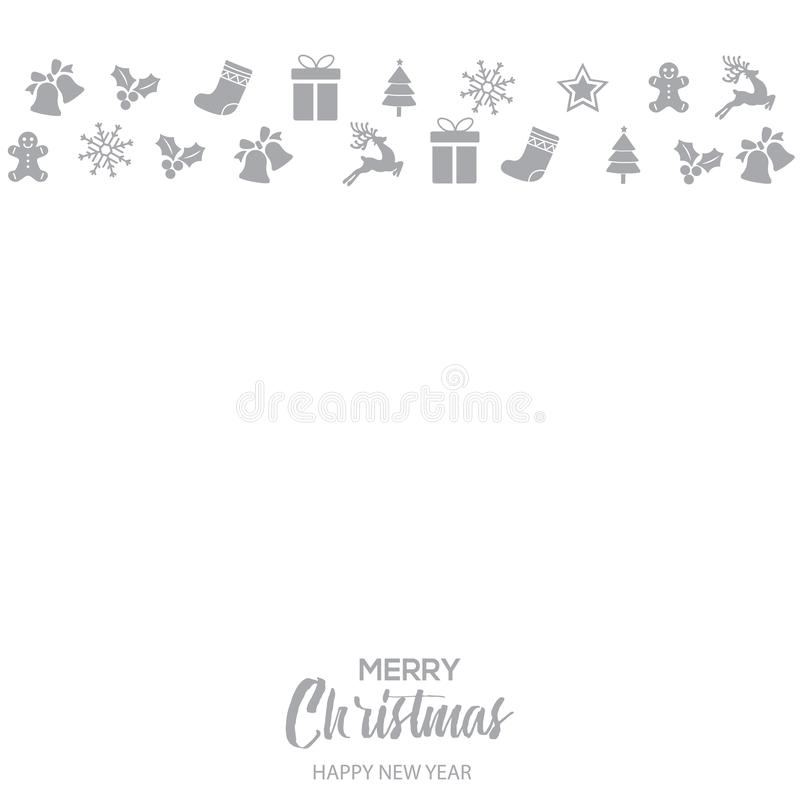 Happy New Year or Christmas card with Xmas ornaments. Vector.  vector illustration