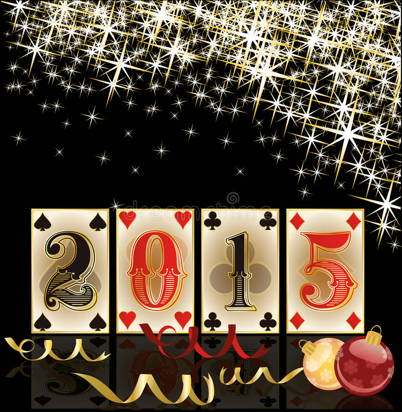 Happy 2015 new year.Christmas casino card stock illustration