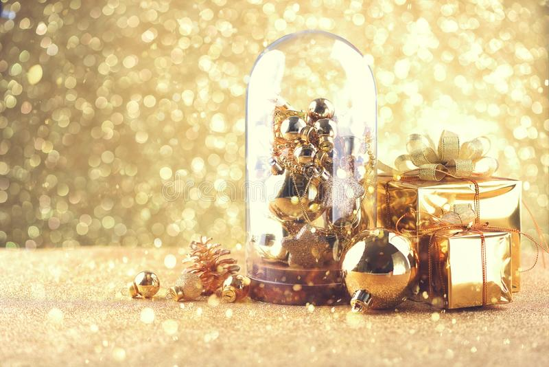 Happy new year and Christmas Celebration balls and other decoration royalty free stock photos
