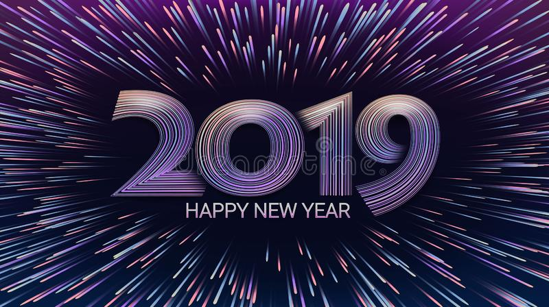 Happy New Year 2019. Christmas. Explosion of fireworks and salute. Lights shimmering particles. Glow effect. Celebration. royalty free illustration