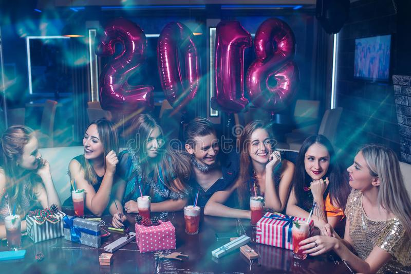 Happy New Year 2018. Christmas friends party royalty free stock photo
