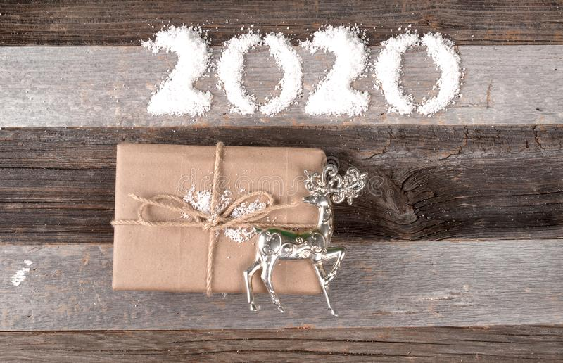 Happy New Year 2020 Christmas gift stock images
