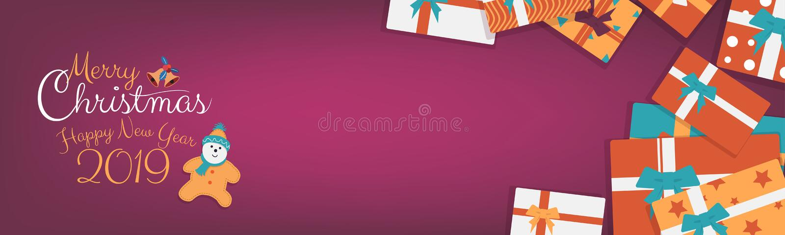 Christmas gifts wide banner with colorful box with ribbon on retro color background with copy space. Happy New Year and Christmas gifts, presents wide banner stock illustration