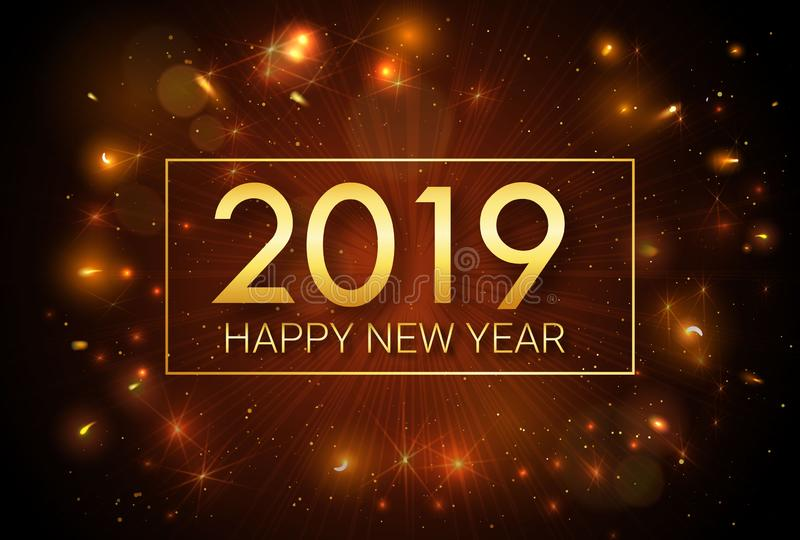 Happy New Year 2019. Christmas. Greeting golden inscription on the background of fireworks. royalty free illustration