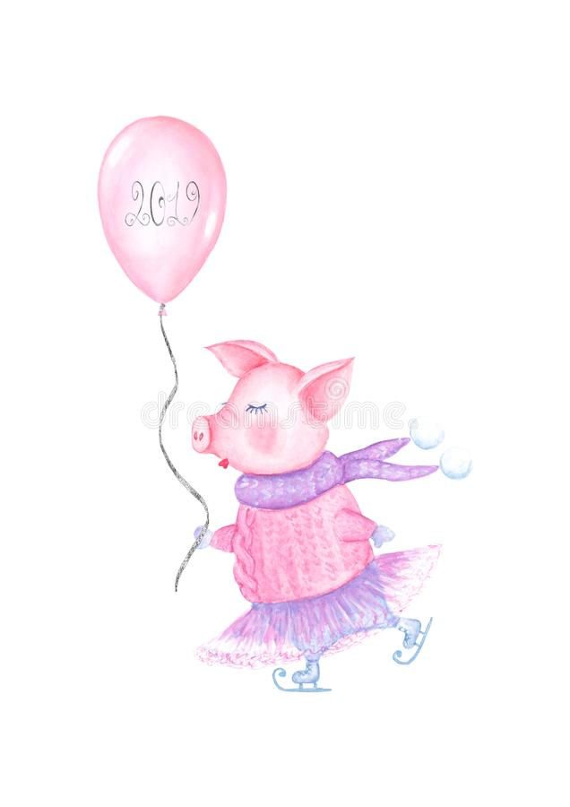 2019 Happy New Year and Christmas illustration with watercolor skating pig vector illustration
