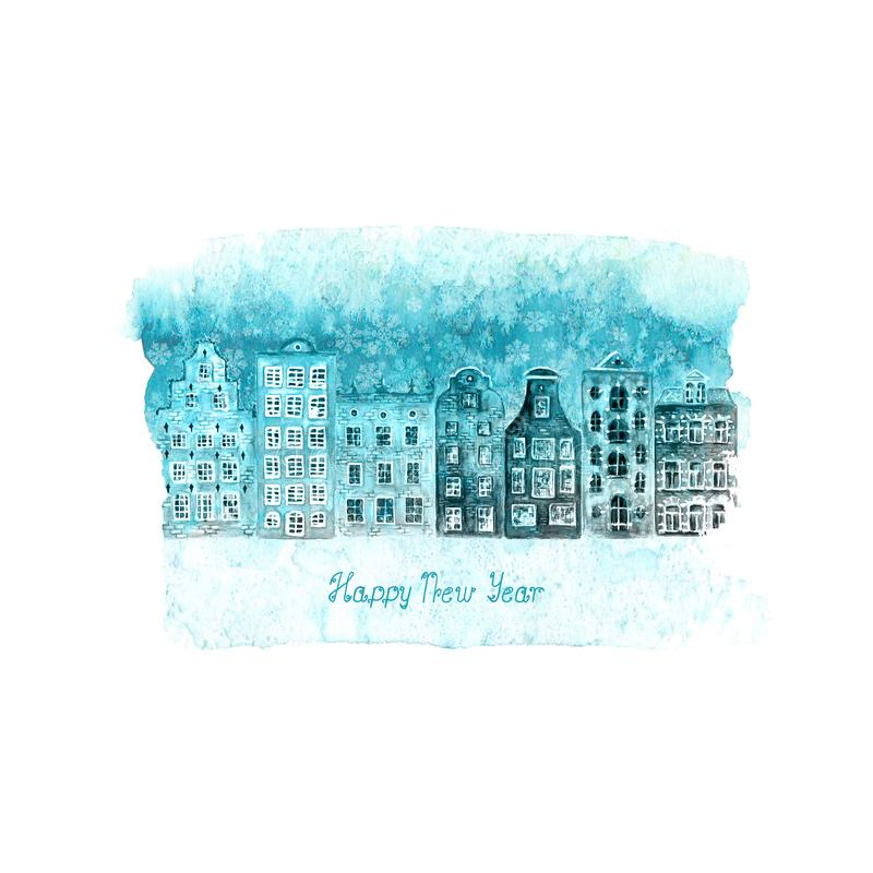 Happy New Year and Christmas illustration with winter watercolor old european houses, snow on blue teal stain. Happy New Year and Christmas illustration with royalty free illustration